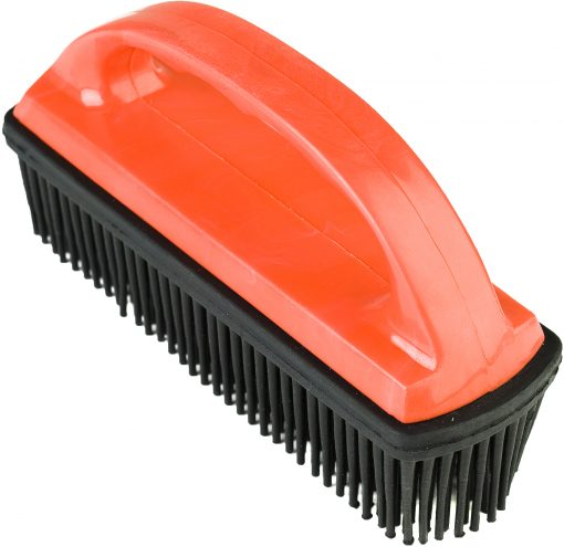 Hair and lint remover rubber brush with red handle
