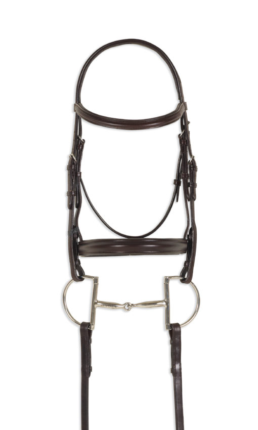 Ovation Quarter Horse Plain Padded Raised Bridle with reins