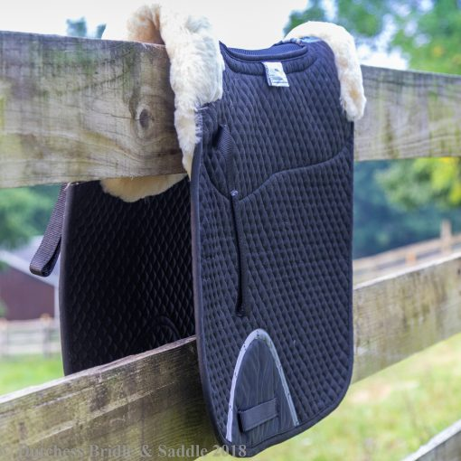 Horze Harleigh sheepskin square pad over fence