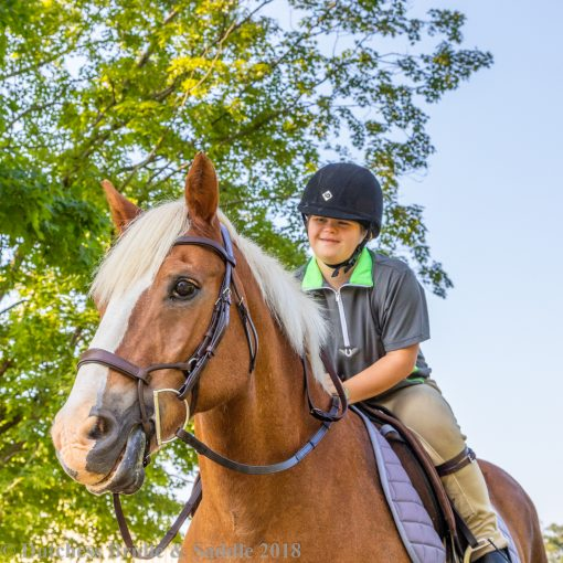 Collegiate ComFiTec Training Bridle in brown leather on palomino pony with smiling girl leaning over mane