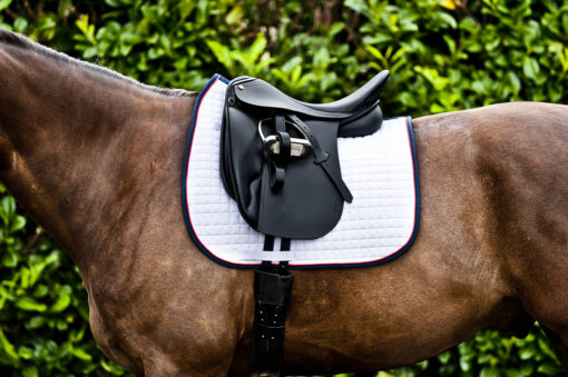 Horze River AP saddle pad white with navy trim