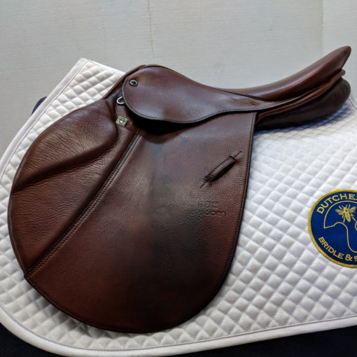 Stubben Edelweiss used jumping saddle in military red leather