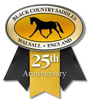 Black Country Saddles 25th anniversary logo