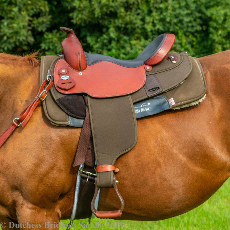 Fabtron Arabian Full Quarter Saddle on a bay horse