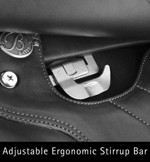 Bates All Purpose Saddle with adjustable ergonomic stirrup bar