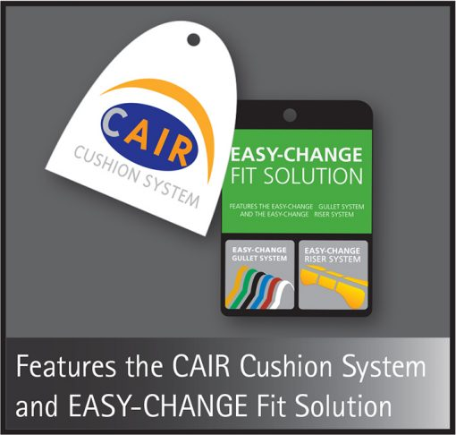 Bates CAIR cushion system and EASY-CHANGE Fit solution swing tags